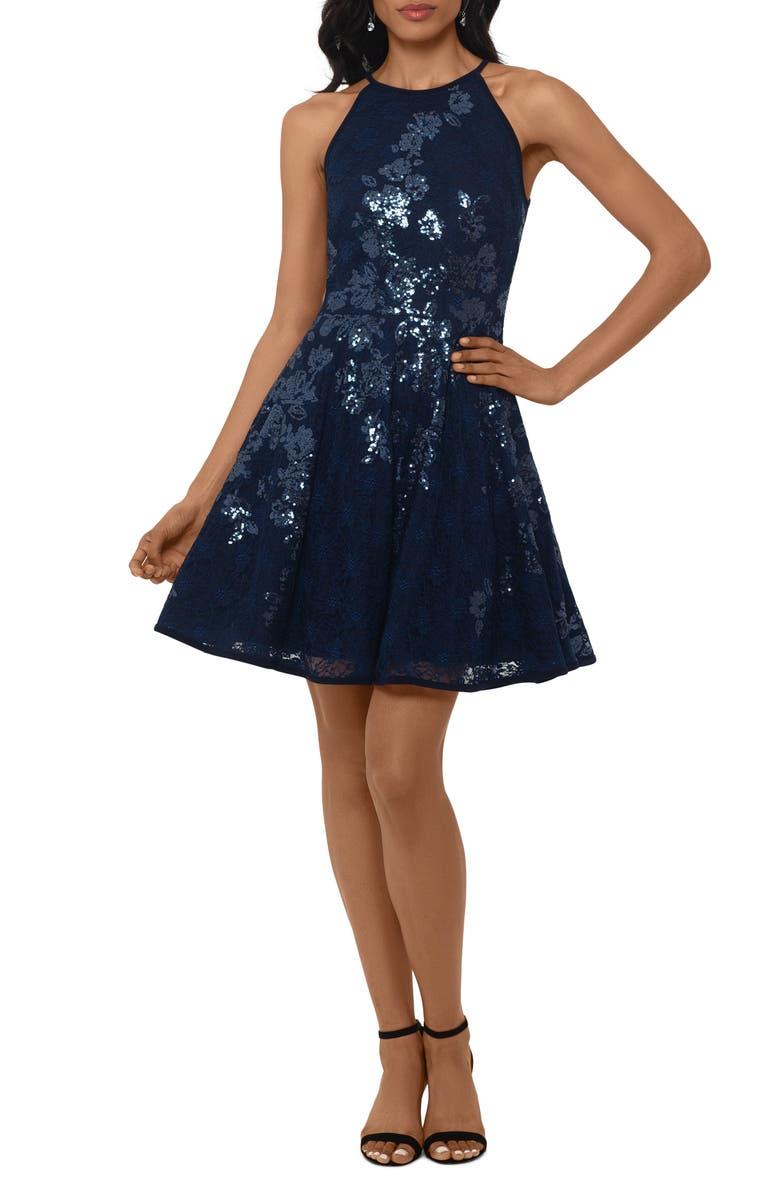 XSCAPE Floral Sequin Lace Skater Dress, Main, color, NAVY/ NAVY