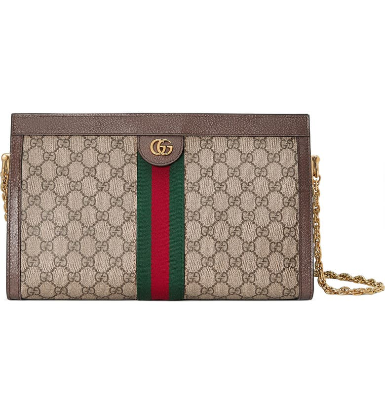 GUCCI GG Supreme Canvas Shoulder Bag, Main, color, BEIGE EBONY/ NERO/ VERT/ RED