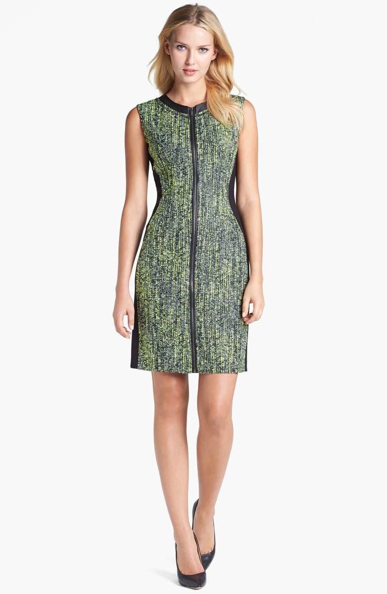 ELIE TAHARI 'Mila' Leather Trim Tweed Dress, Main, color, 332