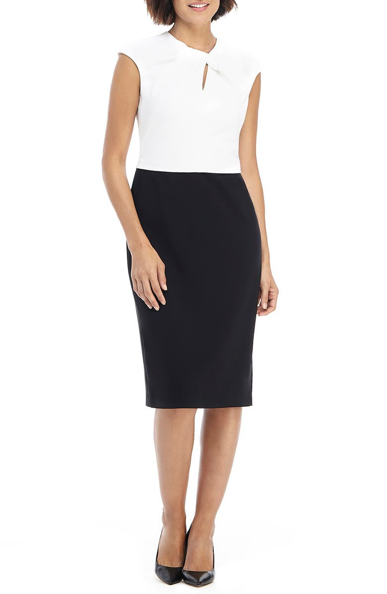 MAGGY LONDON Colorblock Sleeveless Sheath Dress, Main, color, SOFT WHITE/ BLACK