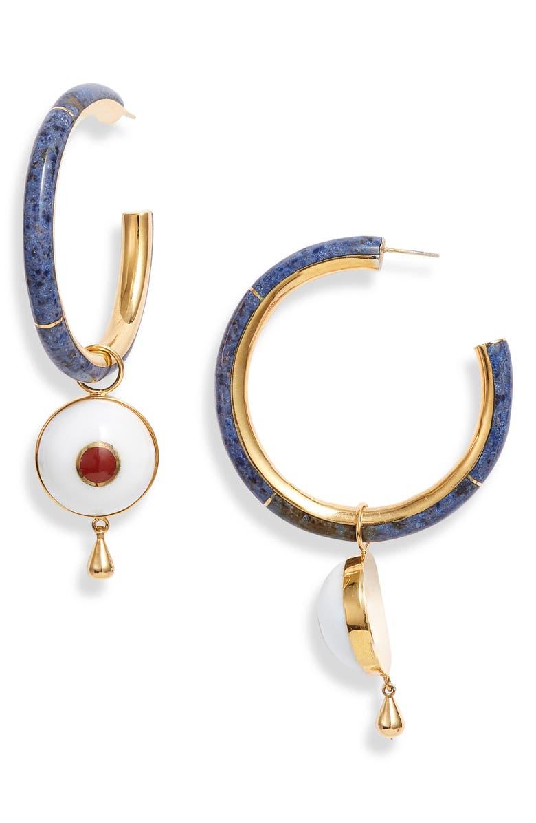 MONICA SORDO Brujo Semiprecious Stone Hoop Earrings, Main, color, BLACK ONYX/MOTHER OF PEARL