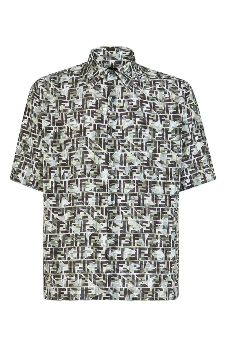 FENDI Camouflage FF Print Short Sleeve Button-Up Shirt, Main, color, 300