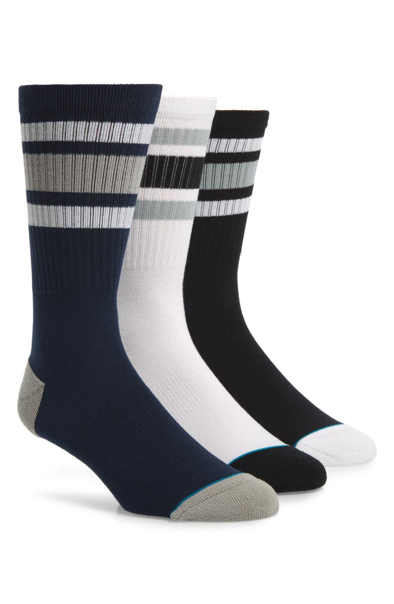 STANCE Boyd 3-Pack Stripe Crew Socks, Main, color, 001