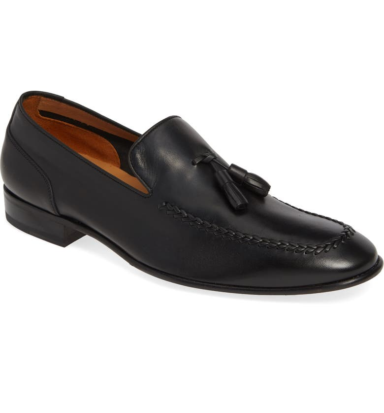 MEZLAN Plinio Tassel Loafer, Main, color, BLACK LEATHER
