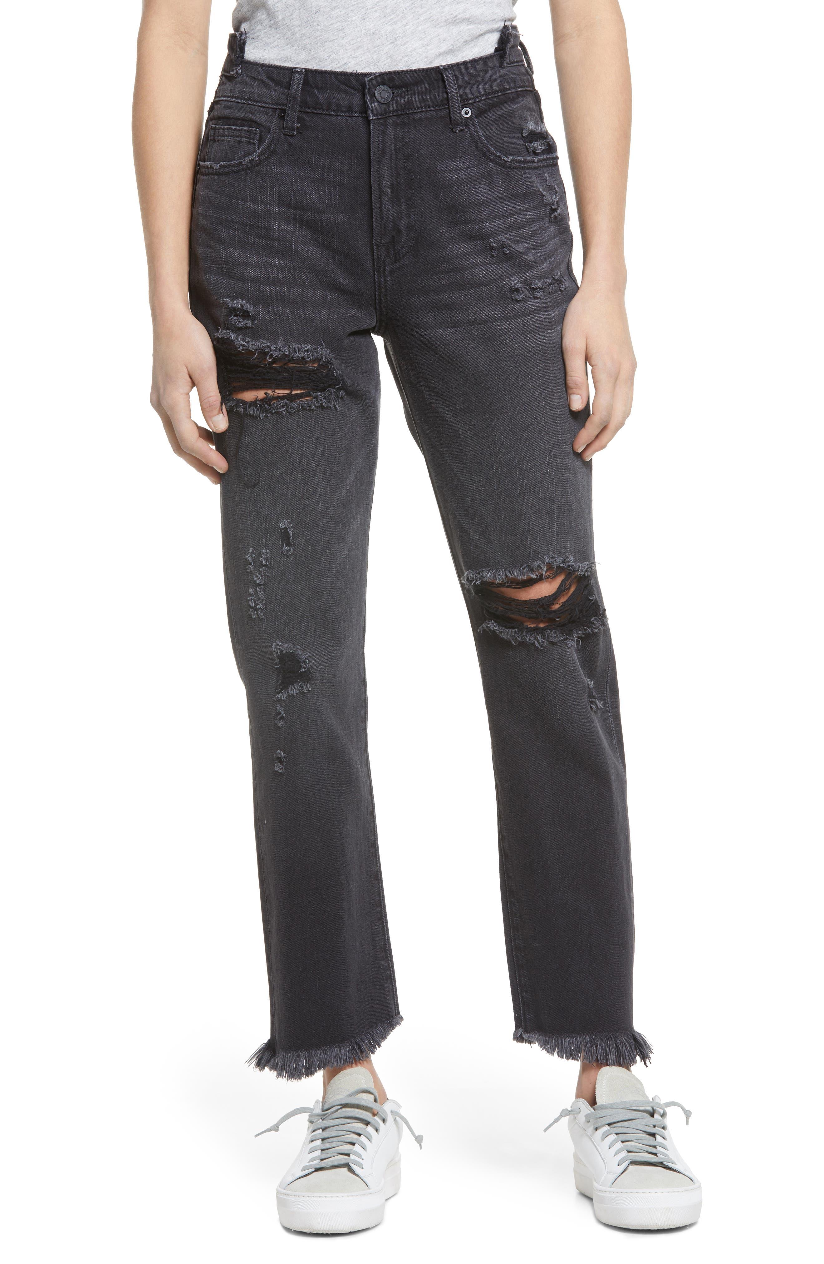 Ripped High Waist Straight Leg Jeans