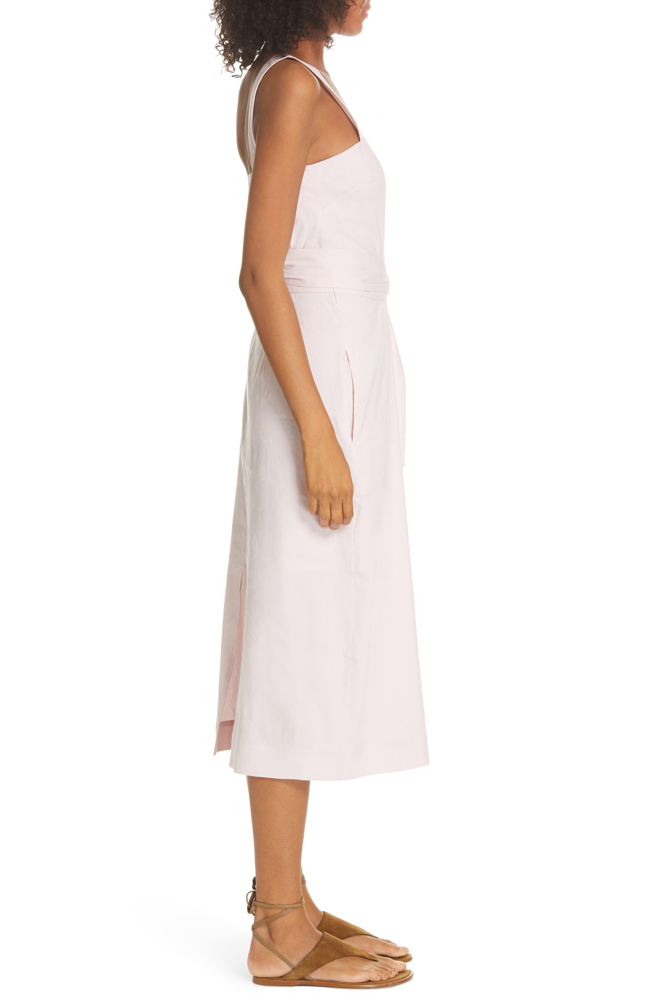 ,                             Wide Strap Belted Linen Blend Dress,                             Alternate thumbnail 4, color,                             ROSA SECO