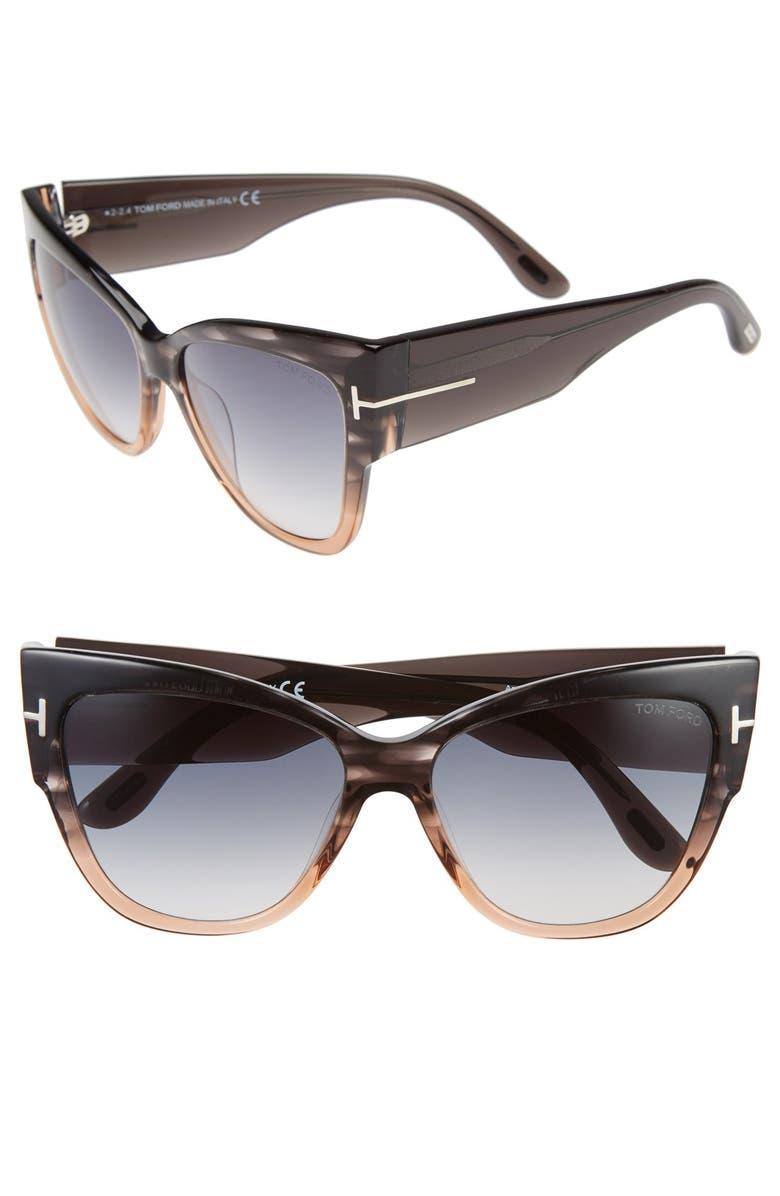 TOM FORD Anoushka 57mm Gradient Cat Eye Sunglasses, Main, color, GREY/ PEACH/ GRADIENT GREY