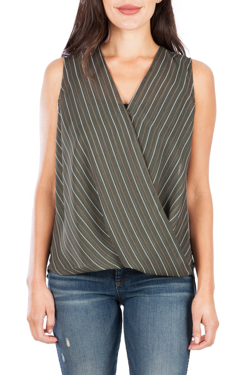 KUT FROM THE KLOTH Calla Sleeveless Wrap Front Top, Main, color, OLIVE
