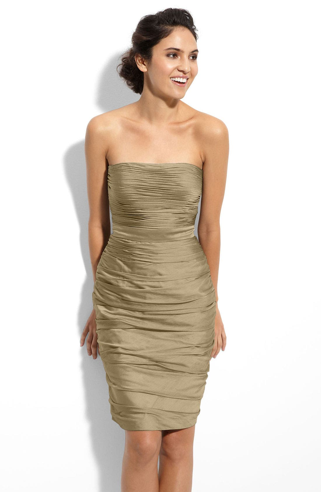 ,                             Ruched Strapless Cationic Chiffon Dress,                             Main thumbnail 29, color,                             290