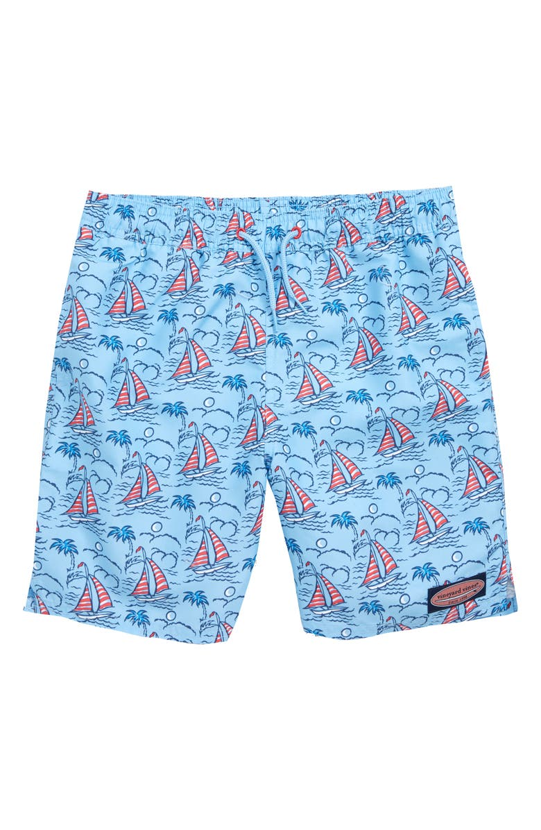 VINEYARD VINES Sailboat Chappy Swim Trunks, Main, color, JAKE BLUE