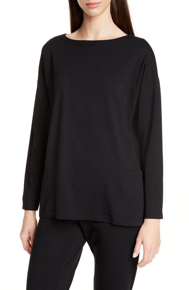 EILEEN FISHER Drop-In Pocket Organic Cotton Blend Top, Main, color, BLACK