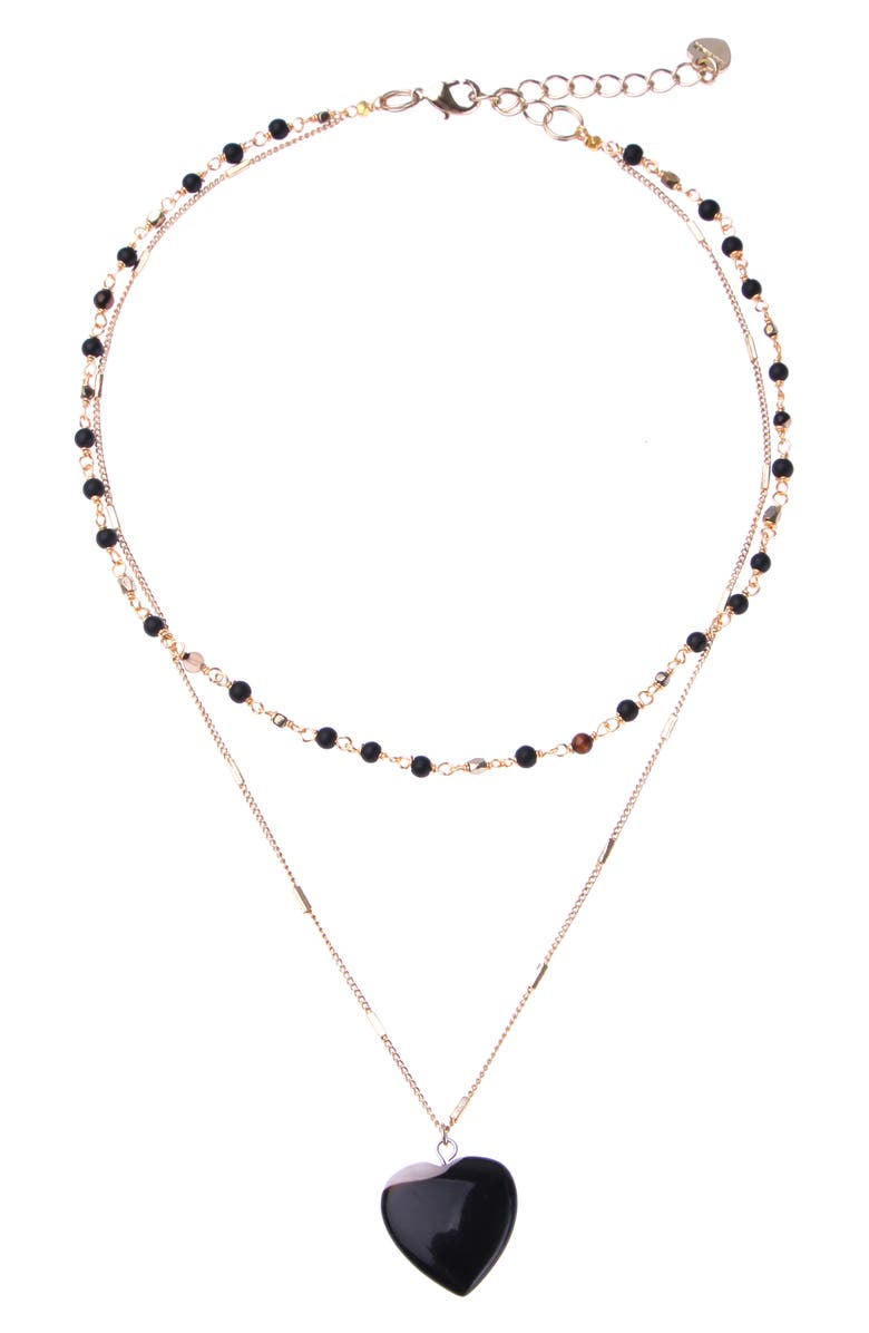 NAKAMOL CHICAGO Layered Stone Heart Necklace, Main, color, BLACK/ GOLD