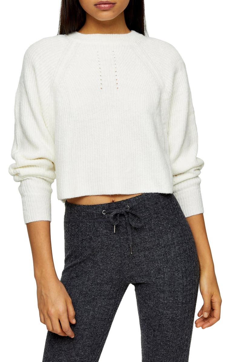 TOPSHOP Crop Sweater, Main, color, IVORY