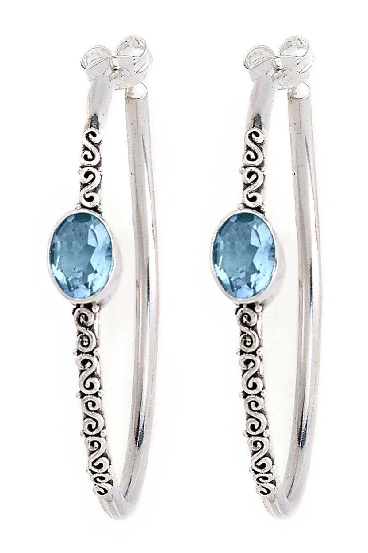 Blue Topaz Oval Bezel Set Sterling Silver Earrings