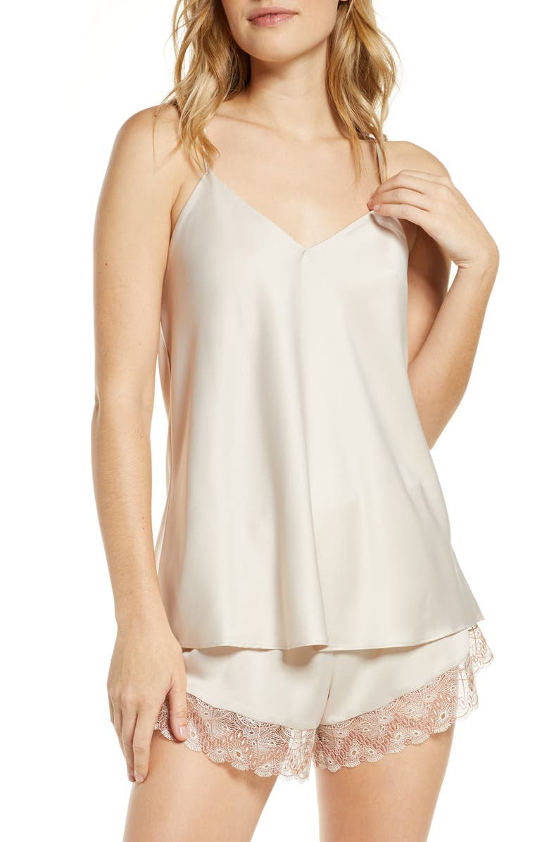 FLORA NIKROOZ Ada Satin Short Pajamas, Main, color, BEIGE