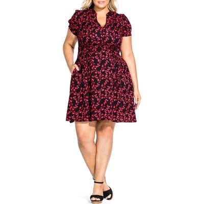 Plus Size City Chic Love Vine Button Up Short Sleeve Dress, Black