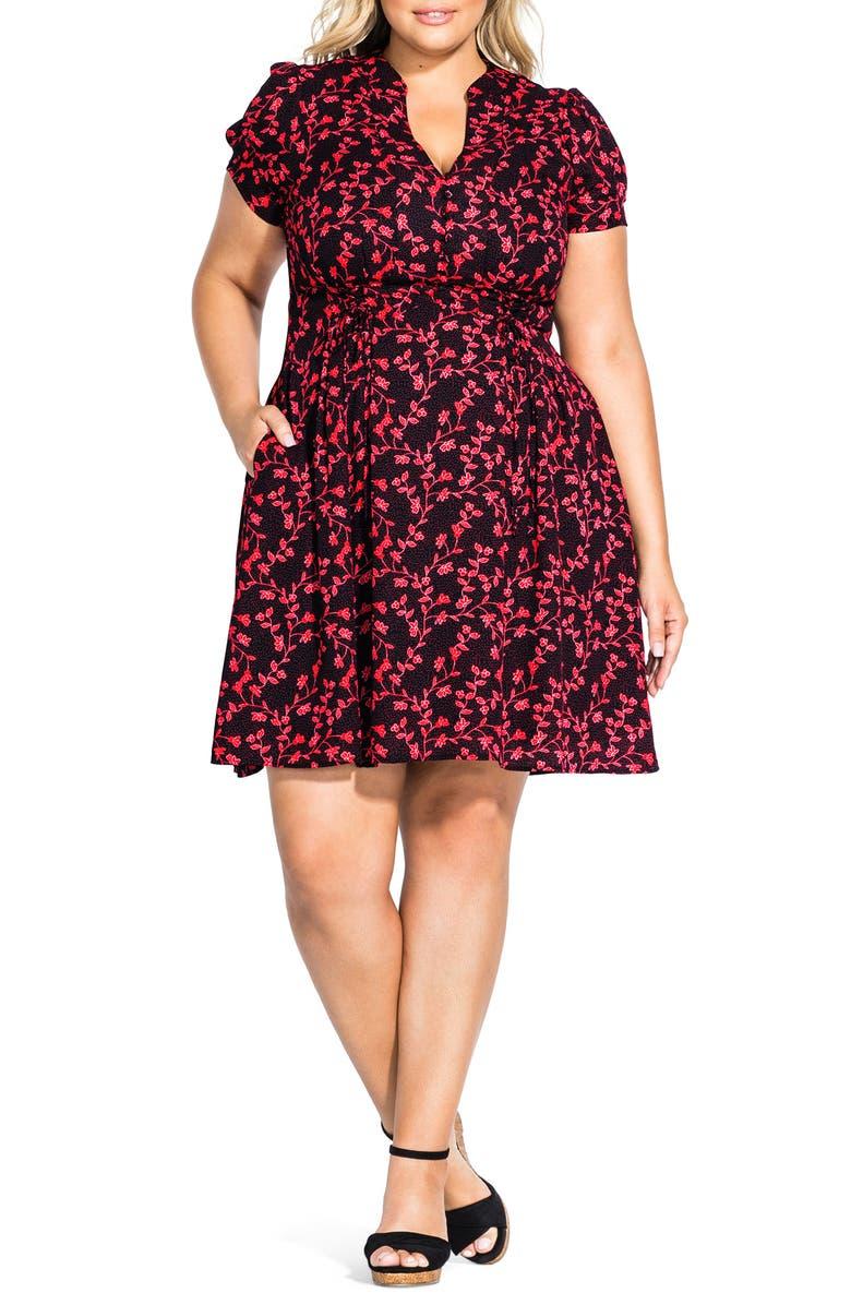 CITY CHIC Love Vine Button Up Short Sleeve Dress, Main, color, 001