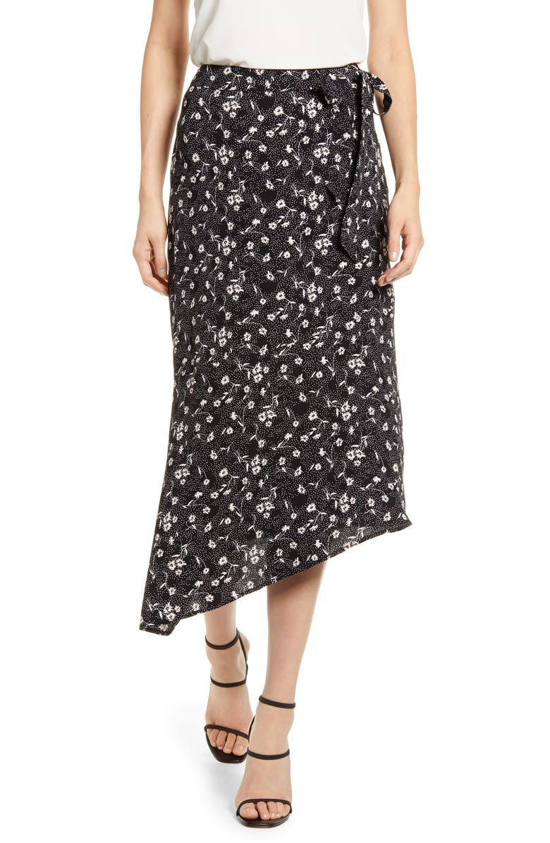 CHELSEA28 Asymmetrical Faux Wrap Skirt, Main, color, BLACK- PINK BRUSH DAISY