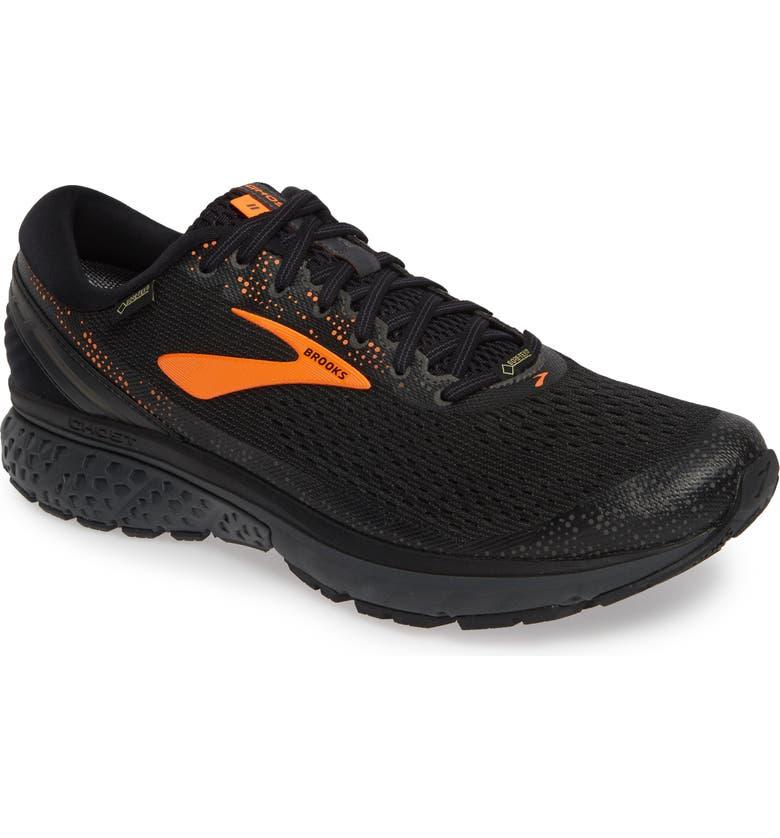 BROOKS Ghost 11 GTX Gore-Tex<sup>®</sup> Waterproof Running Shoe, Main, color, BLACK/ ORANGE/ EBONY