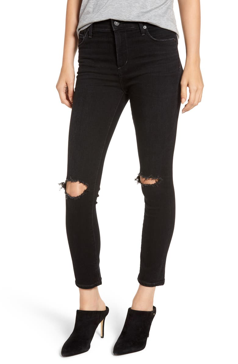 CITIZENS OF HUMANITY Rocket High Waist Ripped Ankle Skinny Jeans, Main, color, SIREN