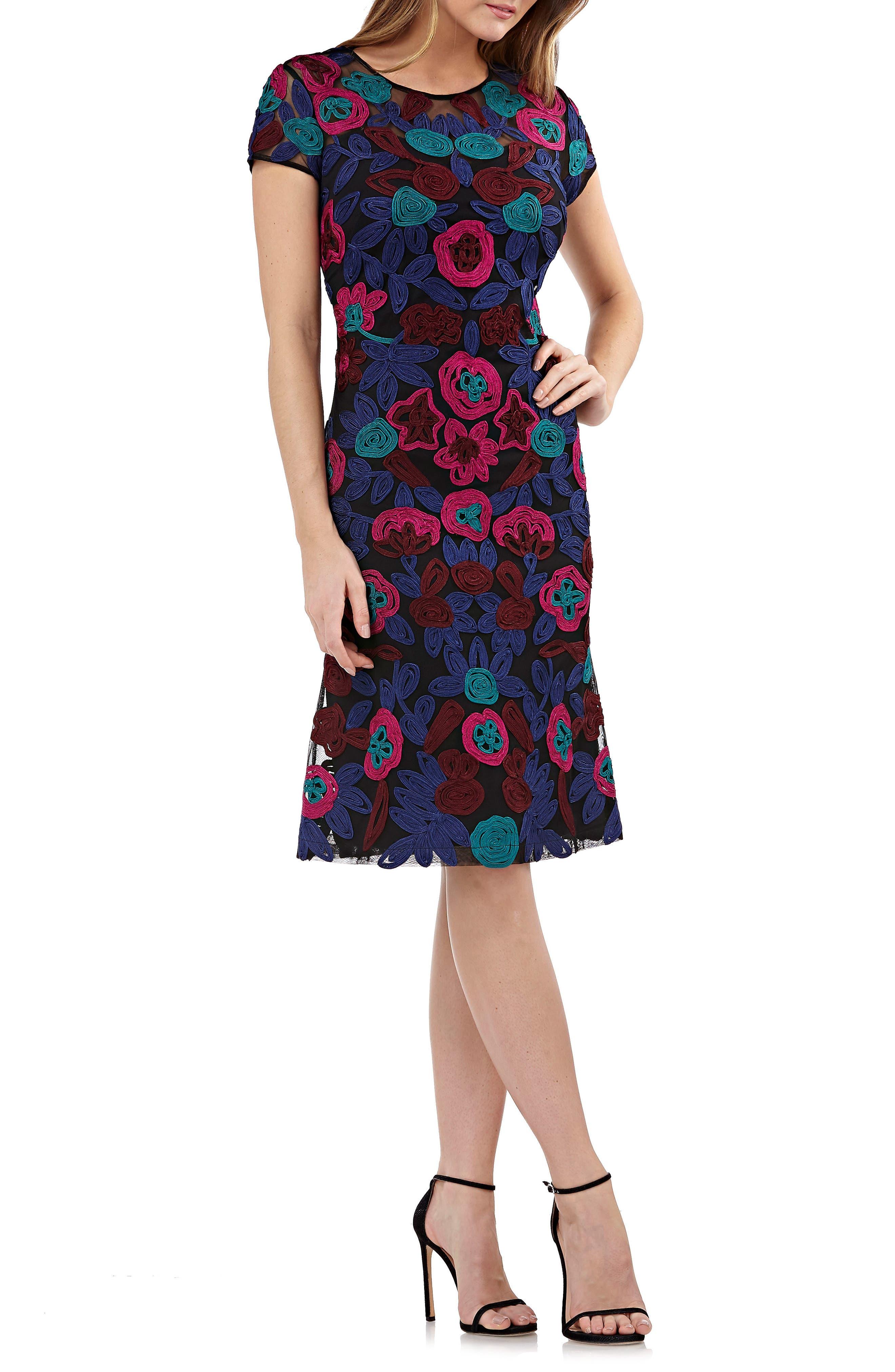 Js Collections Floral Soutache Cocktail Dress, Pink