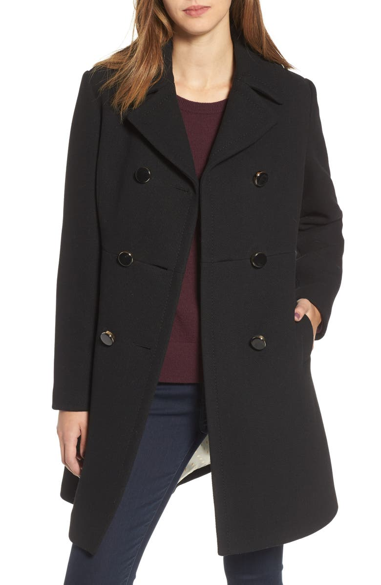 KATE SPADE NEW YORK double breasted coat, Main, color, 001
