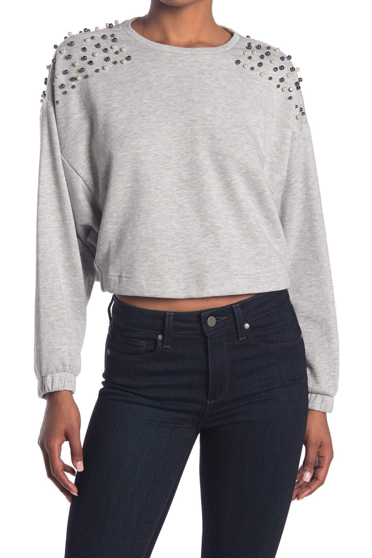 Image of 14th & Union Faux Pearl Crew Neck Sweatshirt