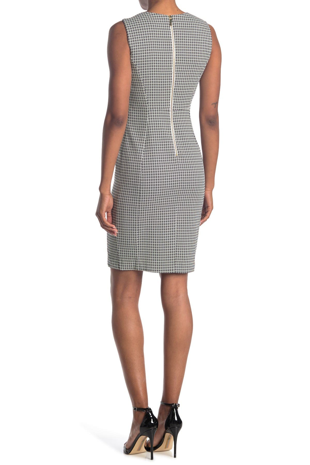 Image of Calvin Klein Geo Print Sleeveless Sheath Dress