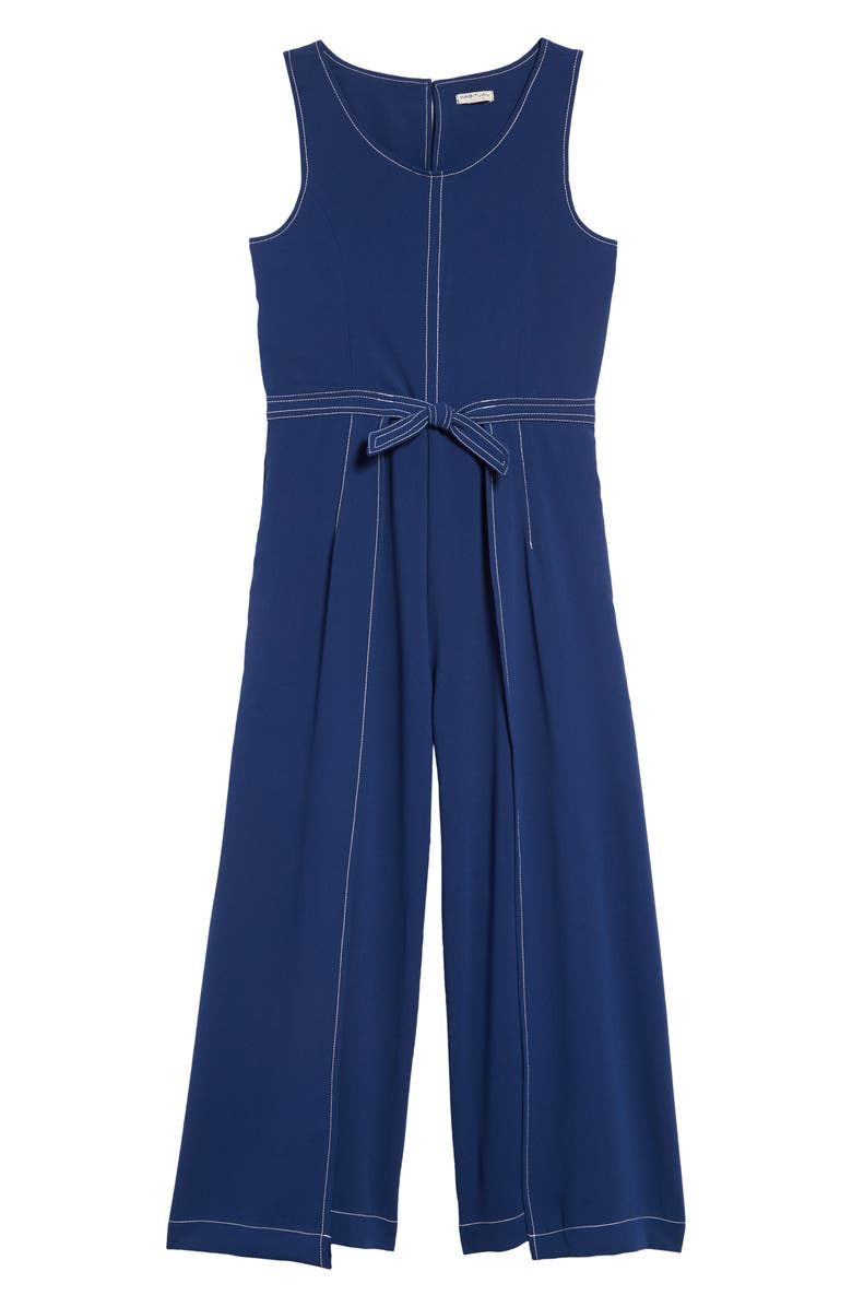 HABITUAL Contrast Stitch Jumpsuit, Main, color, NAVY