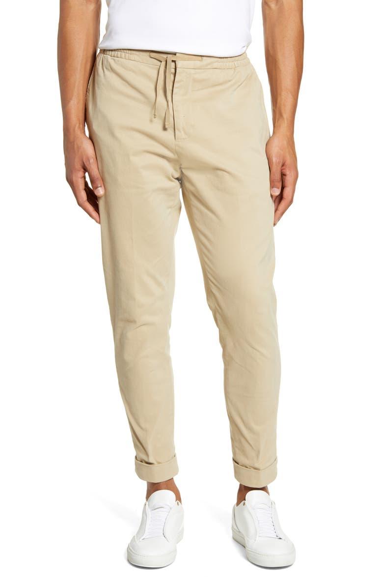 OFFICINE GÉNÉRALE Phil Ankle Drawstring Pants, Main, color, DUNE