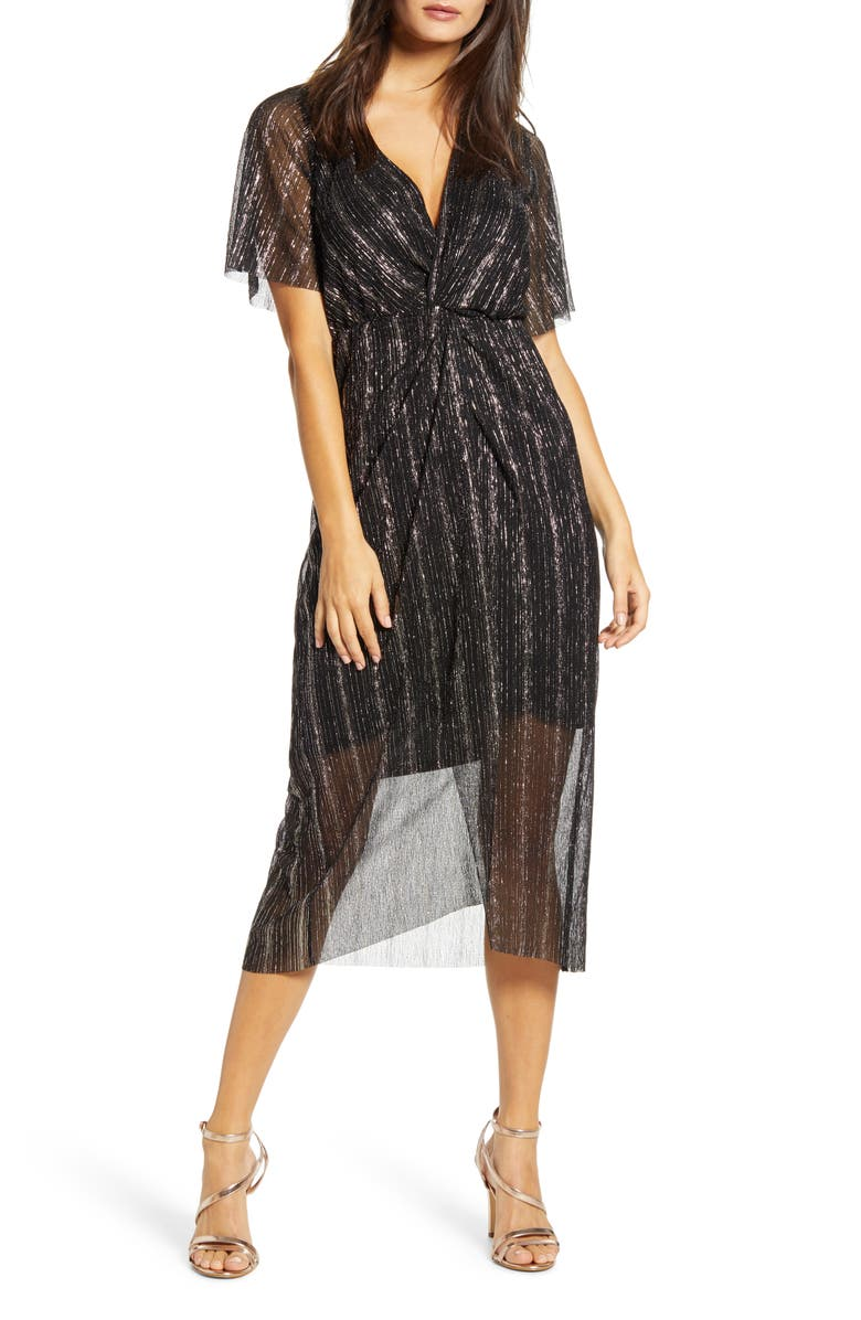 ALL IN FAVOR Dolman Plissé Midi Dress, Main, color, SHINE BLACK