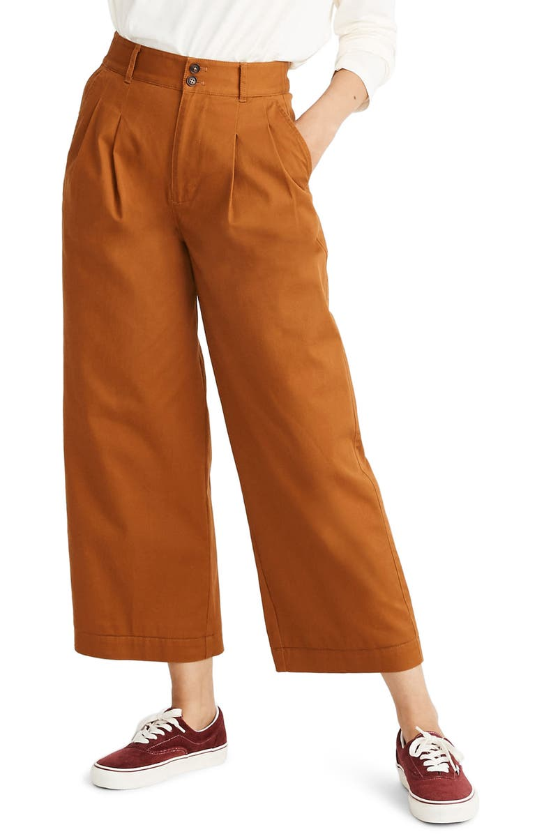 MADEWELL High Waist Crop Wide Leg Pants, Main, color, BURNT SIENNA