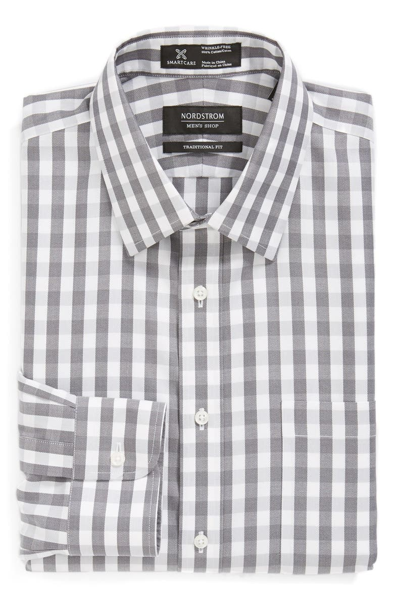 NORDSTROM MEN'S SHOP Nordstrom Smartcare<sup>™</sup> Traditional Fit Check Dress Shirt, Main, color, 001