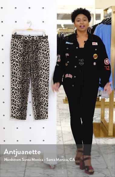 Elegant Stripe Leopard Crop Pants, sales video thumbnail