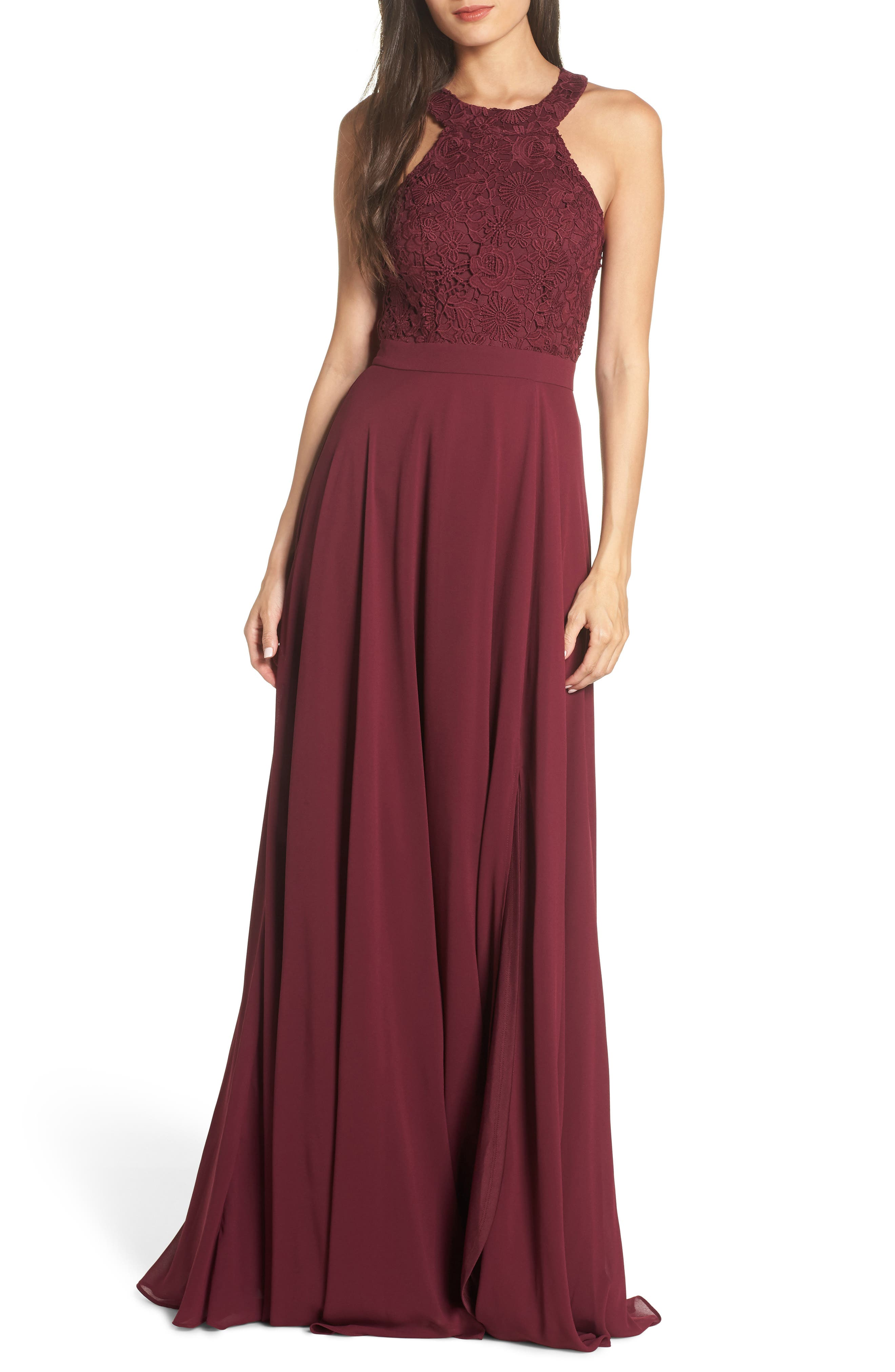 Lulus Love Poem Lace Halter Gown