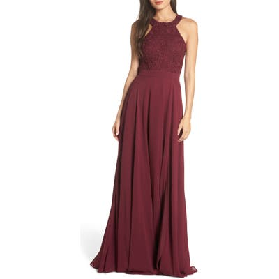 Lulus Love Poem Lace Halter Gown, Red