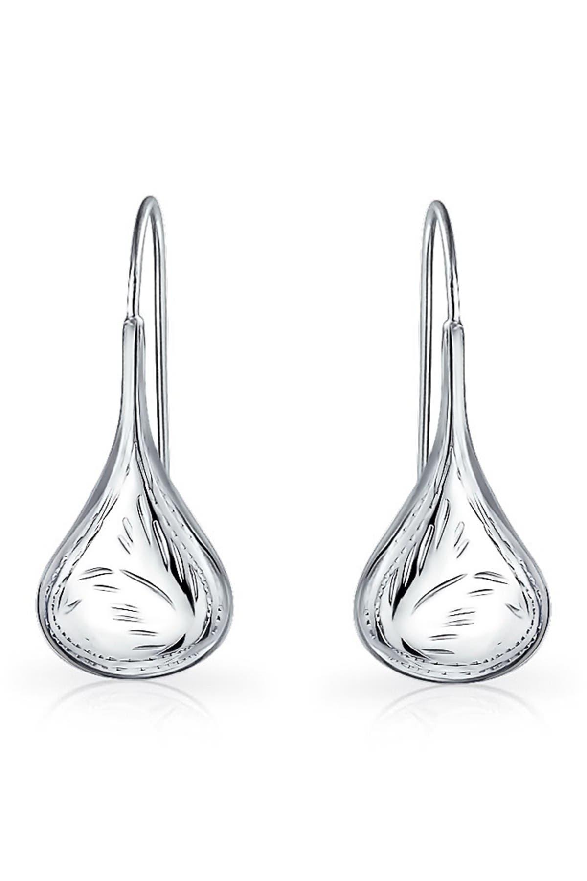 Image of Bling Jewelry Sterling Silver Etched Teardrop Earrings