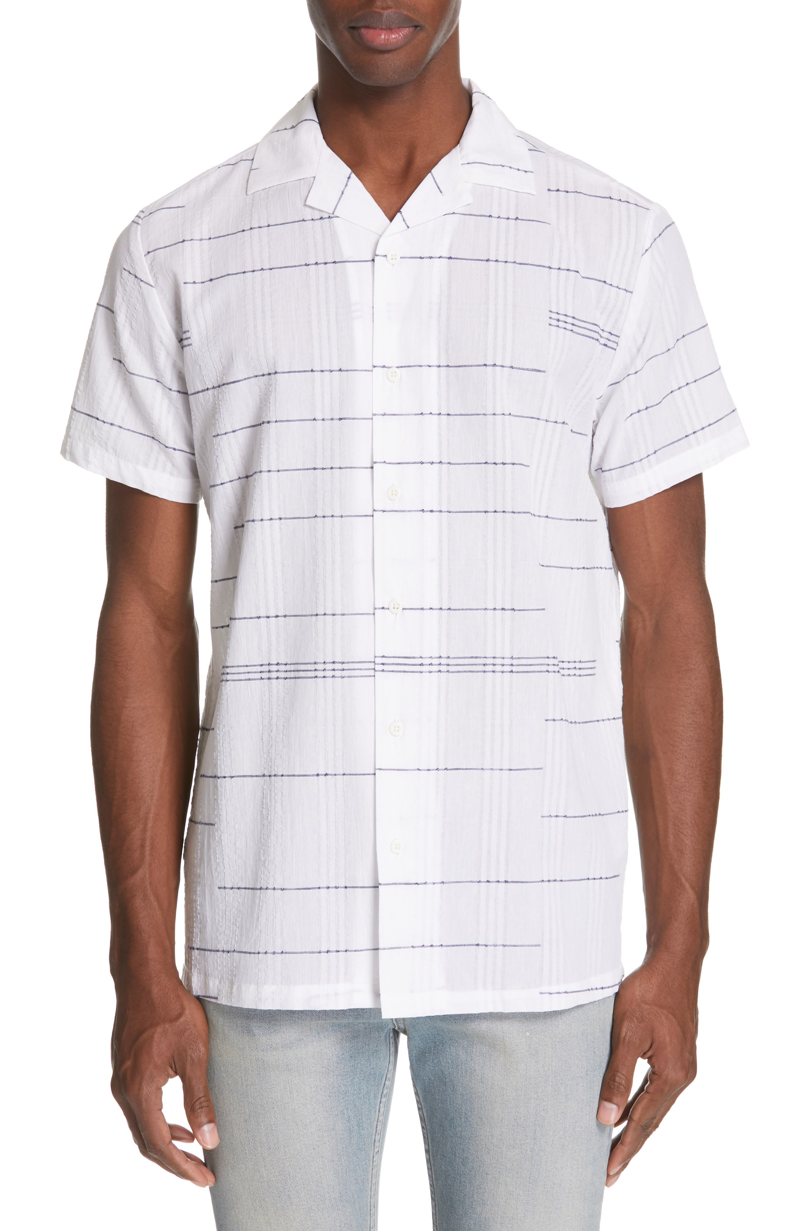 ,                             Embroidered Stripe Woven Shirt,                             Main thumbnail 1, color,                             WHITE