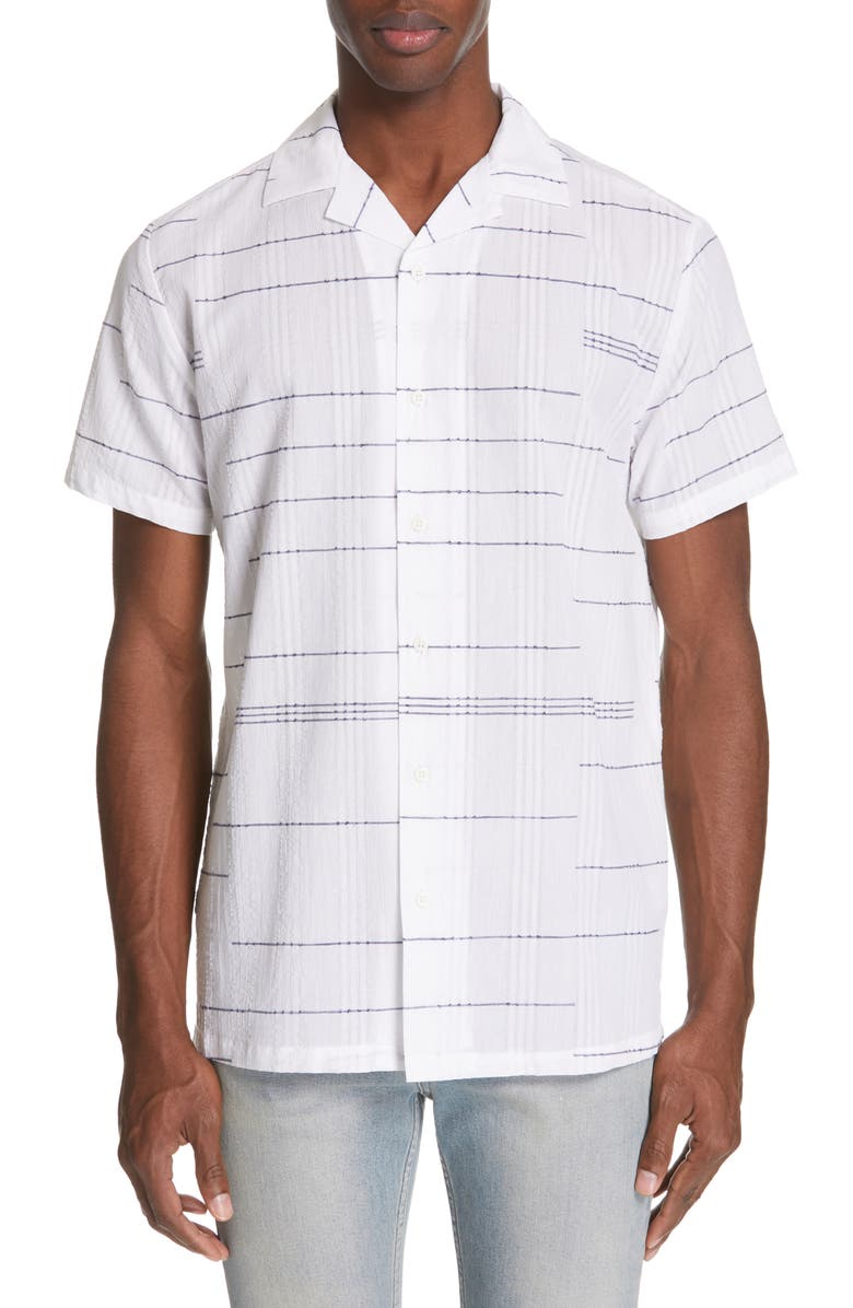 ONIA Embroidered Stripe Woven Shirt, Main, color, WHITE