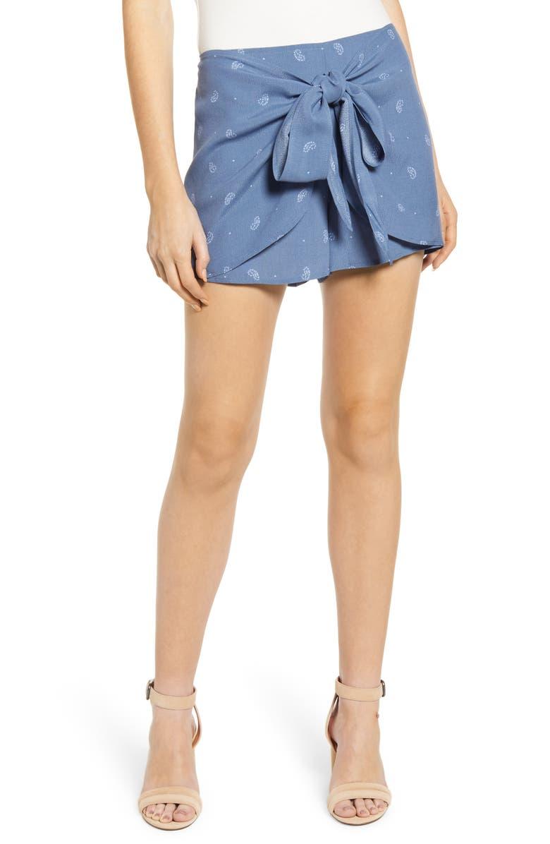BISHOP + YOUNG Caroline Tie Front Shorts, Main, color, LIGHT BLUE