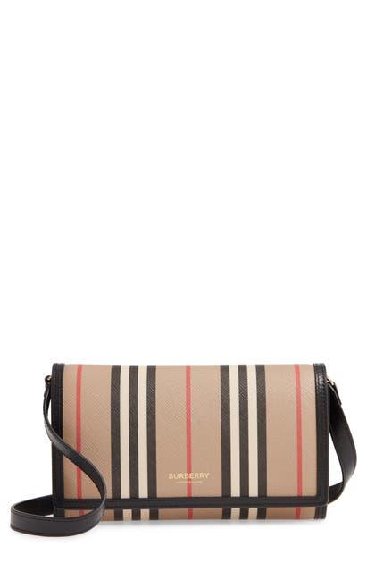 Burberry Hannah Icon Stripe Wallet-on-strap In Archive Beige