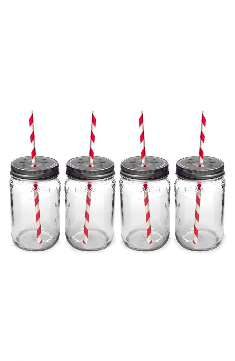 CATHY'S CONCEPTS Monogram Drinking Mason Jar Mugs, Main, color, 600