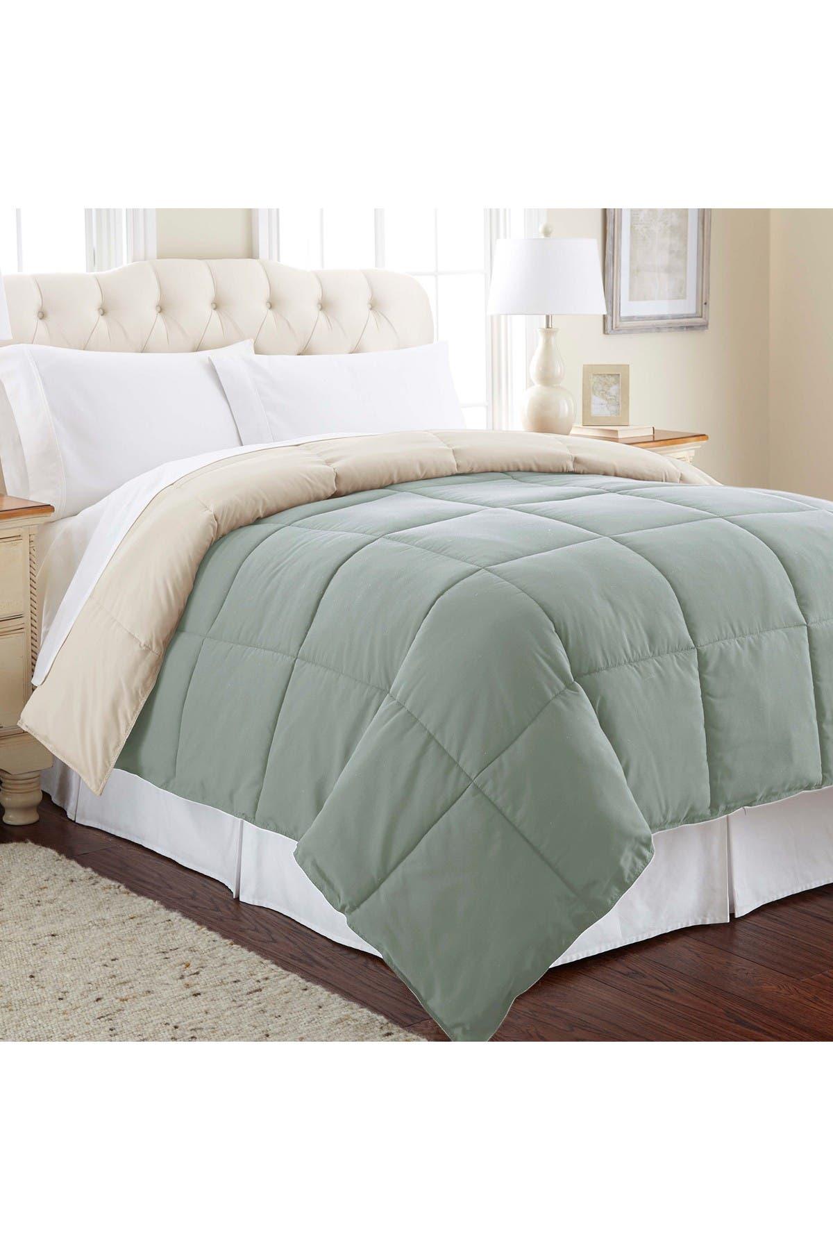 Image of Modern Threads Down Alternative Reversible King Comforter - Dusty Sage/Almond