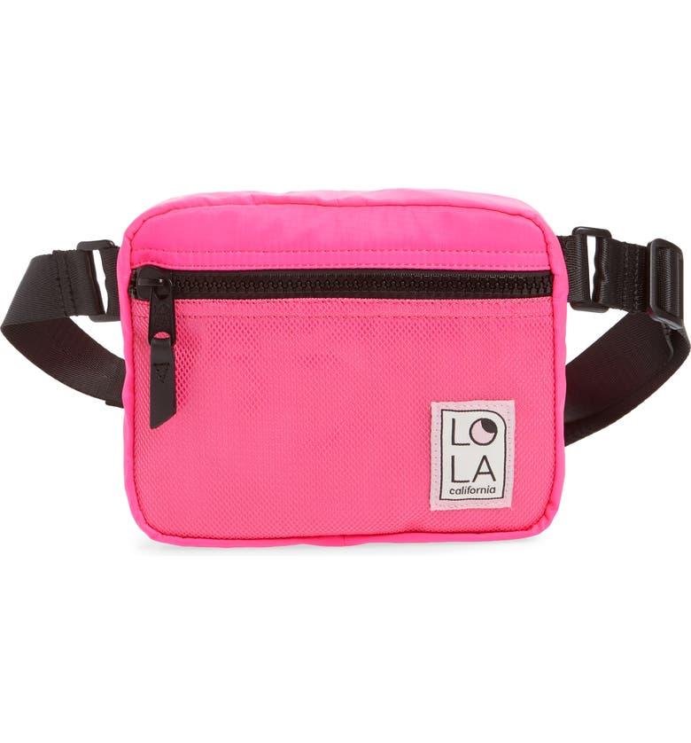 LOLA LOS ANGELES Hippie Belt Bag, Main, color, LASER PINK
