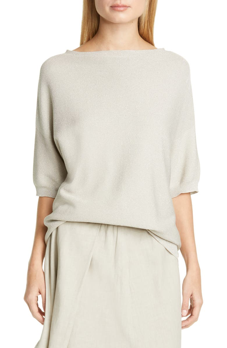 FABIANA FILIPPI Drop Shoulder Metallic Cotton Blend Sweater, Main, color, GREY