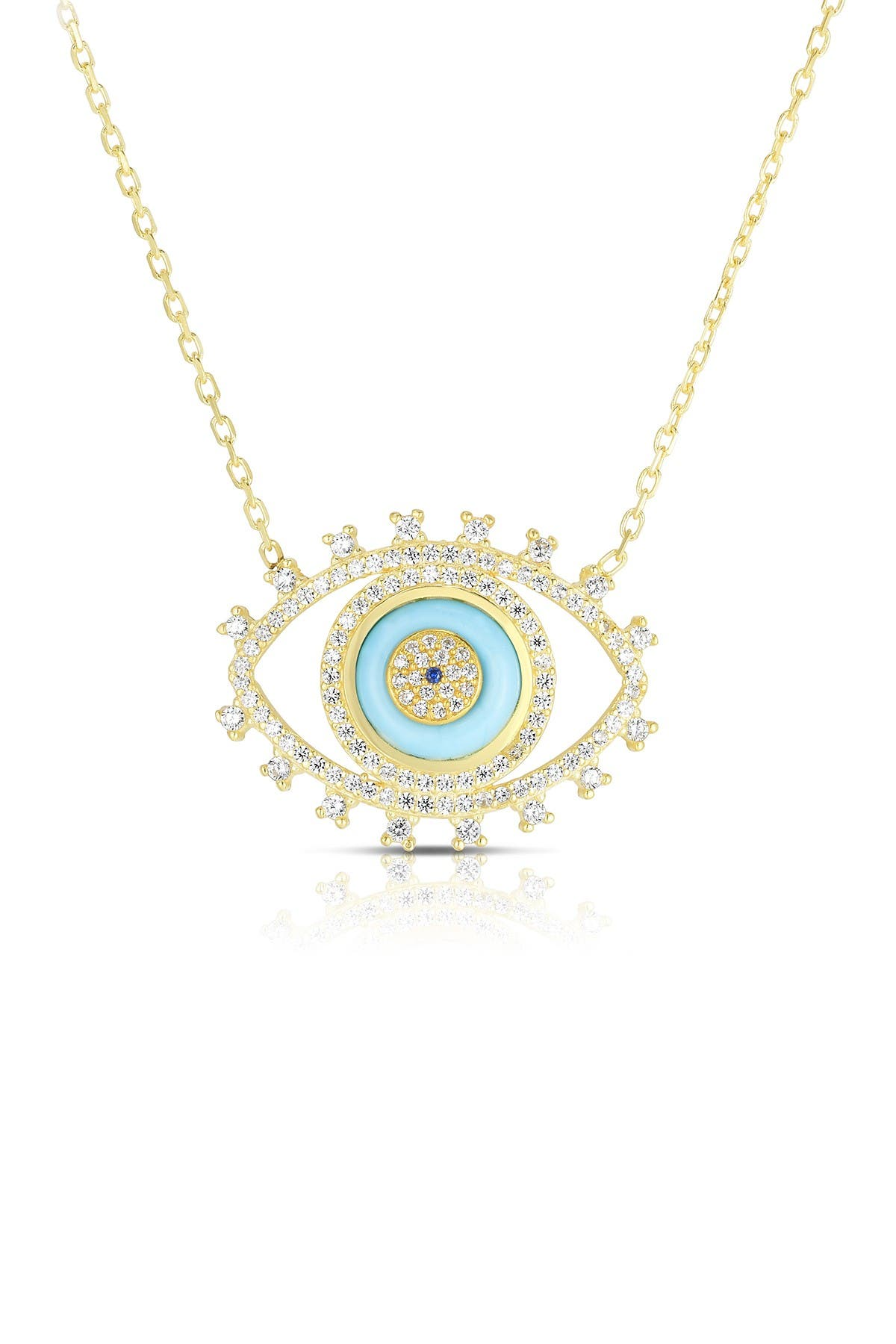 Image of Sphera Milano 14K Gold Plated Sterling Silver CZ Evil Eye Necklace