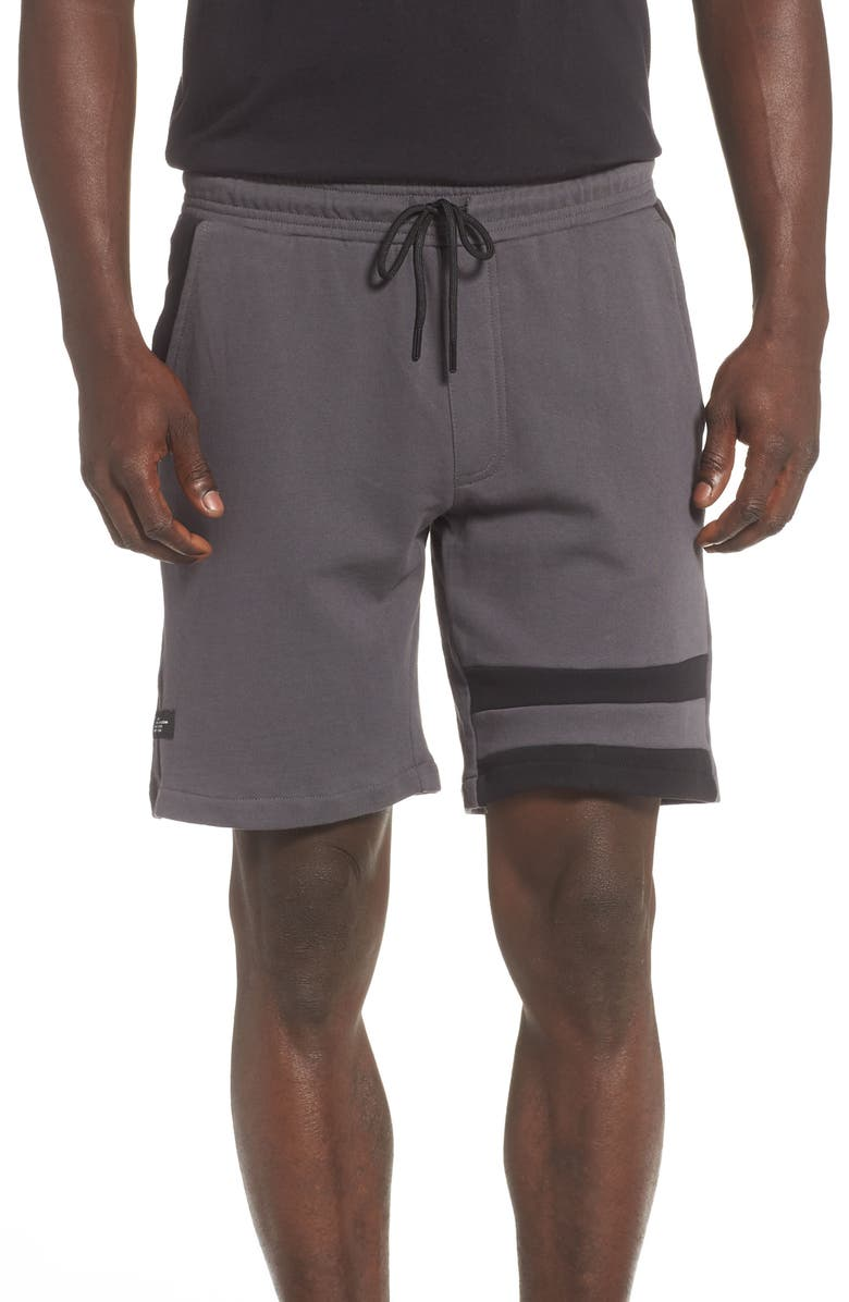 NXP Fleece Track Shorts, Main, color, CHARCOAL