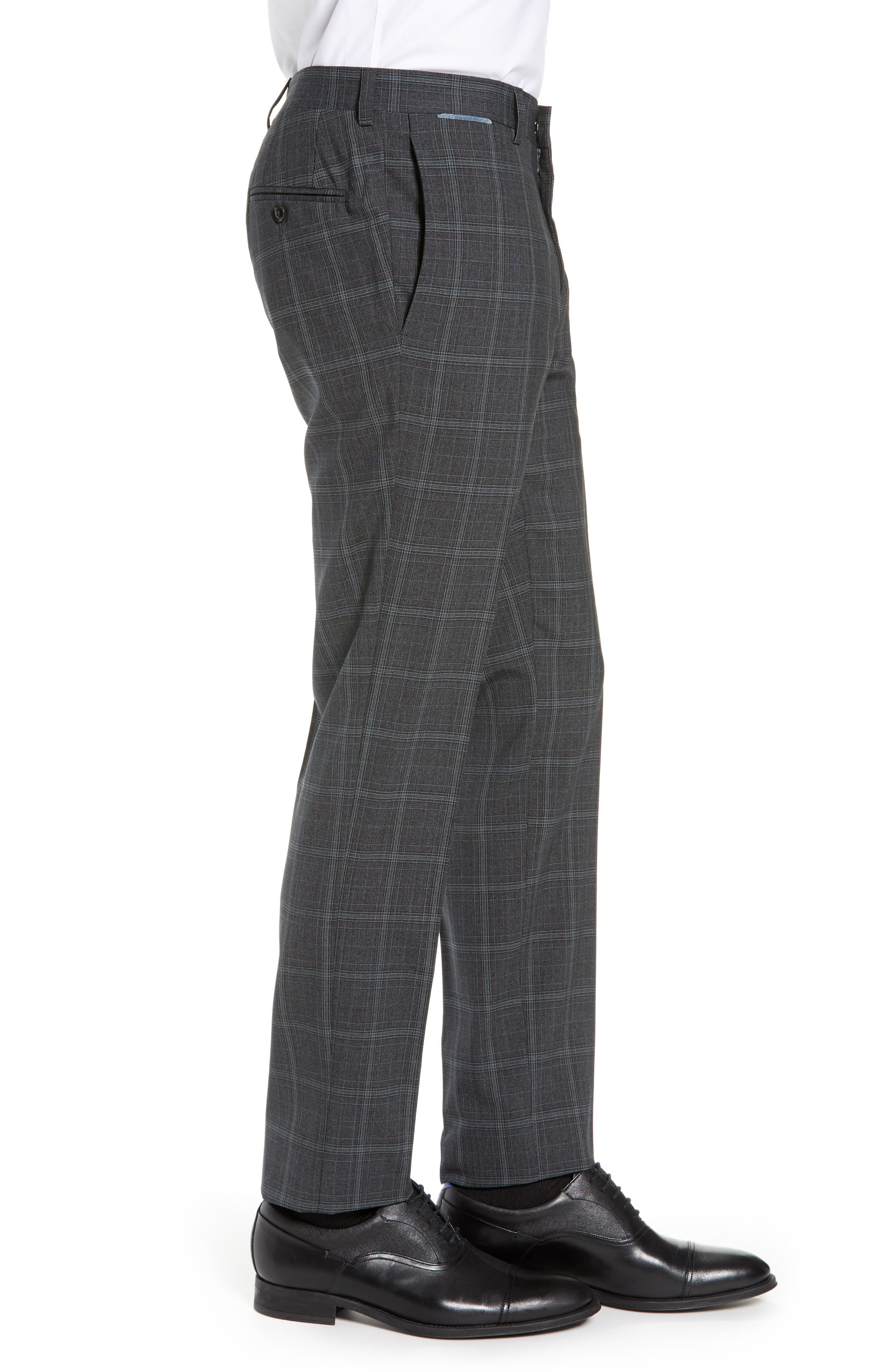 ,                             Reese Flat Front Plaid Wool Trousers,                             Alternate thumbnail 4, color,                             GREY