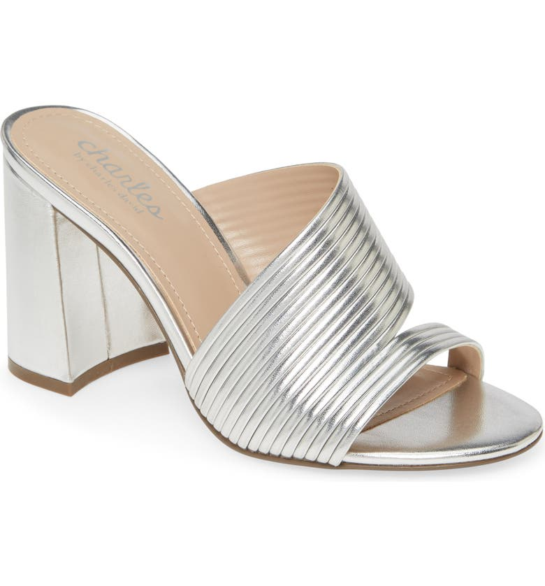 CHARLES BY CHARLES DAVID Rhythmic Slide Sandal, Main, color, SILVER FAUX LEATHER