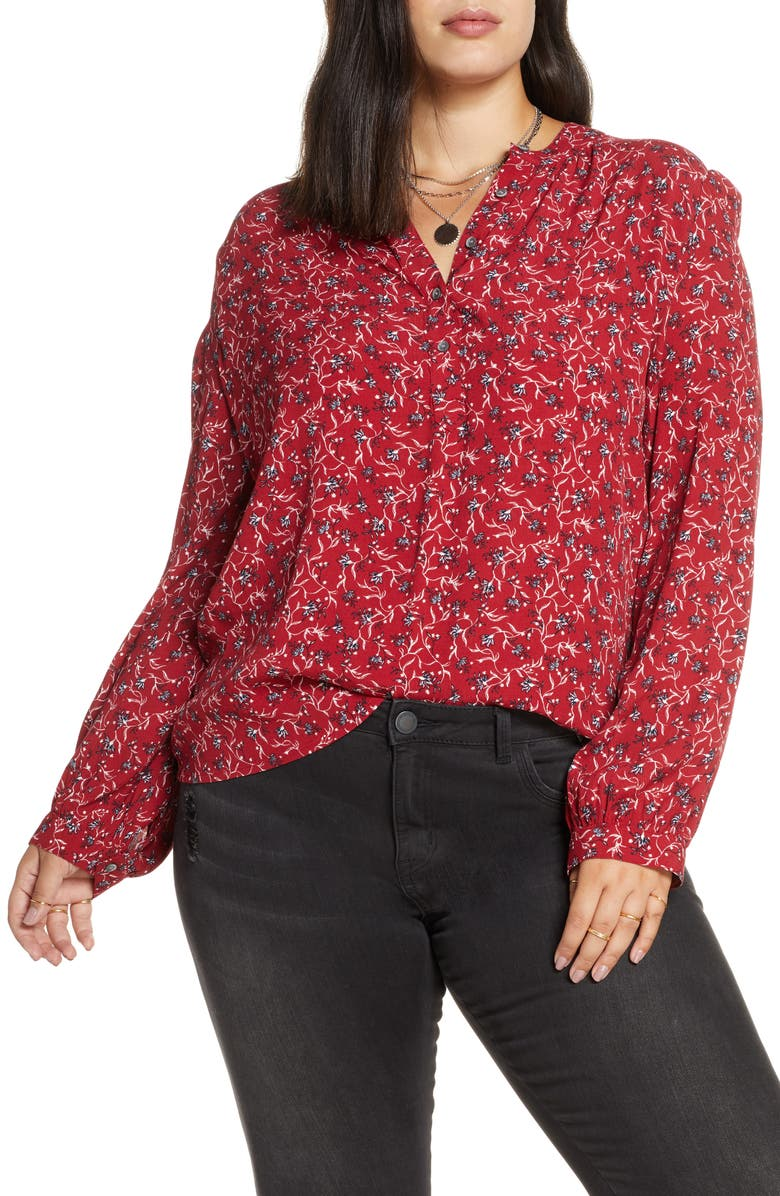 TREASURE & BOND Floral Print Woven Shirt, Main, color, RED DAHLIA MINI VINE LILY